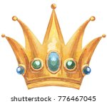 watercolor gold crown with... | Shutterstock . vector #776467045
