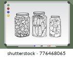 homemade preserves in glass jar.... | Shutterstock .eps vector #776468065