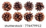 Fir Cones Isolated On White...
