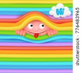 pink funny emoji monster...   Shutterstock .eps vector #776483965