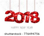 new year 2018 red holiday... | Shutterstock .eps vector #776494756