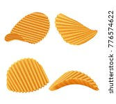 set of vector potato rippled... | Shutterstock .eps vector #776574622