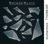 broken glass. realistic shards... | Shutterstock .eps vector #776588185