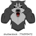 body grey werewolf | Shutterstock .eps vector #776595472