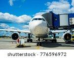 modern white passenger airplane ... | Shutterstock . vector #776596972