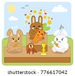 brown bunny wins carrot contest ... | Shutterstock .eps vector #776617042