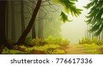misty forest landscape... | Shutterstock .eps vector #776617336
