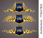 set of golden royal shields... | Shutterstock .eps vector #776617822