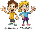 Cute Cartoon Boy And Girl. Bot...