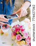 Small photo of woman blogger smartphone photo party preparation concept. creation process. dependency of social network.