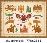 heraldic set with lions ... | Shutterstock .eps vector #77662861