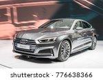 Small photo of Frankfurt, Germany, September 13, 2017: metallic gray Audi A5 Sportback g-tron at 67th International Motor Show (IAA)