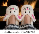 pair of bunny slippers by... | Shutterstock . vector #776639206