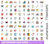 100 teaching aids icons set.... | Shutterstock .eps vector #776642692