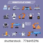 robots icons set with... | Shutterstock . vector #776645296