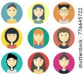 set icon avatar young pretty... | Shutterstock .eps vector #776645722