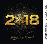 happy new year 2018 text design ... | Shutterstock .eps vector #776653432