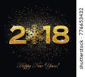 happy new year 2018 text design ... | Shutterstock .eps vector #776653432