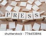 Press Word On Cube Wood