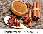 wooden spoon with anise star... | Shutterstock . vector #776659612