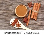 cinnamon powder with sticks and ... | Shutterstock . vector #776659618