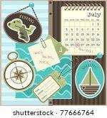 scrapbook travel elements ... | Shutterstock .eps vector #77666764
