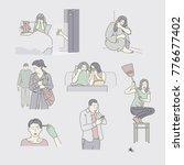 character showing various... | Shutterstock .eps vector #776677402