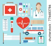 color medical icon set in flat... | Shutterstock .eps vector #776683786