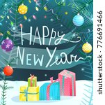 happy new year hand drawn sign. ... | Shutterstock .eps vector #776691466