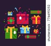 gift boxes. festive cardboard...   Shutterstock .eps vector #776695252