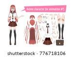 anime manga schoolgirl in a red ... | Shutterstock .eps vector #776718106