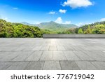 empty square floor and green... | Shutterstock . vector #776719042
