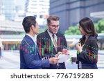 double exposure group of... | Shutterstock . vector #776719285