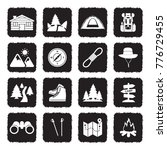 hiking icons. grunge black flat ... | Shutterstock .eps vector #776729455