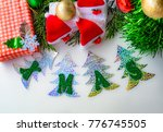 gift box with red stripes ... | Shutterstock . vector #776745505