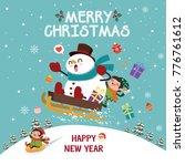 vintage christmas poster design ... | Shutterstock .eps vector #776761612