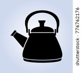 black kettle  white line icon | Shutterstock .eps vector #776762176