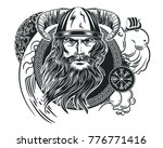 vector image of a viking's head ... | Shutterstock .eps vector #776771416