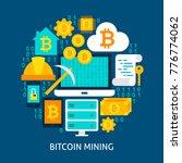 bitcoin mining flat concept....   Shutterstock .eps vector #776774062
