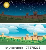 great wall of china. day and... | Shutterstock .eps vector #77678218