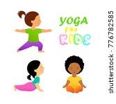 yoga for kids flat vector... | Shutterstock .eps vector #776782585