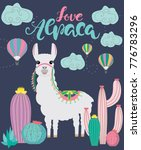 love alpaca card for holiday... | Shutterstock .eps vector #776783296