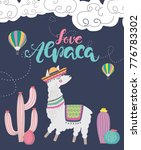 love alpaca card for holiday... | Shutterstock .eps vector #776783302