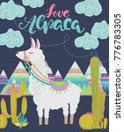 love alpaca card for holiday... | Shutterstock .eps vector #776783305