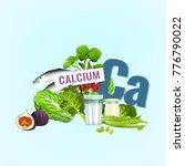 calcium in food. top foods rich ... | Shutterstock .eps vector #776790022