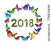 2018  new year. two thousand... | Shutterstock . vector #776814646