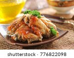 fried chicken with tomato sauce | Shutterstock . vector #776822098