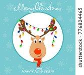 The Head Of Happy Reindeer Wit...