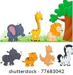 illustration of animals walking ... | Shutterstock .eps vector #77683042
