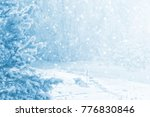bright winter landscape with... | Shutterstock . vector #776830846